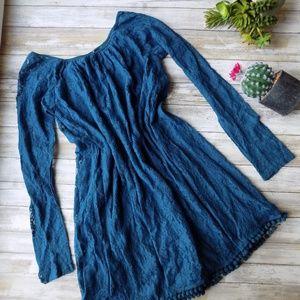 Small Lace Teal Dress Modest Pom-Pom